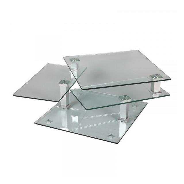 Dansmamaison Table basse en verre carrée - Draqua - L 80 x l 80 x H 42 cm