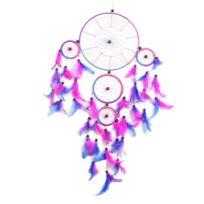Lanitta - Grand Attrape-rêve arc-en-ciel, multicouleur, véritable plumes