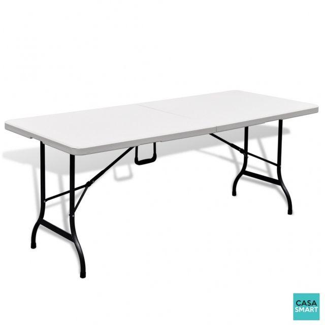 CASASMART - Table rectangulaire blanche pour jardin pliable - pas ...