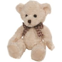 Babyland - Suki Gifts 17008 Traditional Teddy Bear Ellie With Checked Ribbon 27.9 Cm Cream