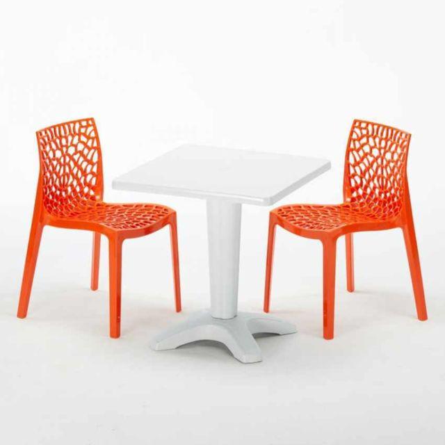 Chaises Polypropylen Et 2 Table Colorées VMpUSz