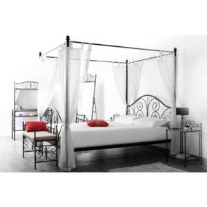 miliboo lit baldaquin baroque noir 2 personnes victoria pas cher achat vente structures. Black Bedroom Furniture Sets. Home Design Ideas