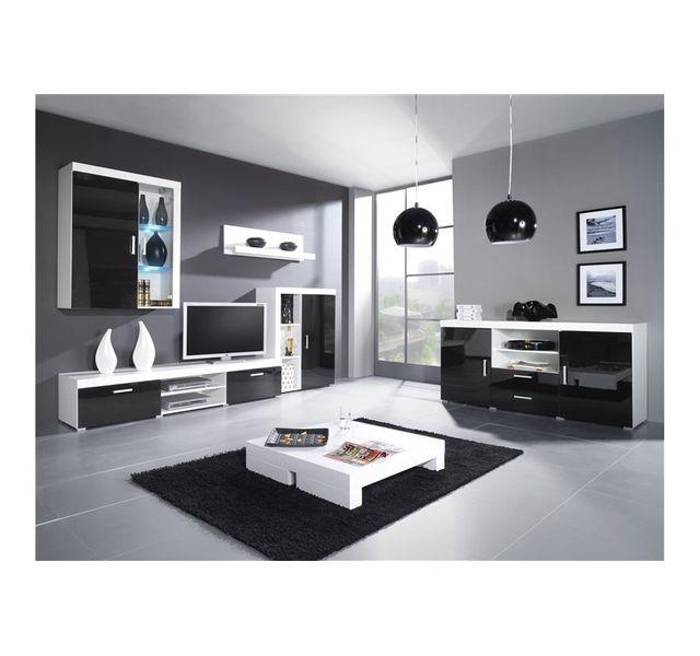 chloe design meuble tv mural design mamba avec commode blanc et noir pas cher achat. Black Bedroom Furniture Sets. Home Design Ideas