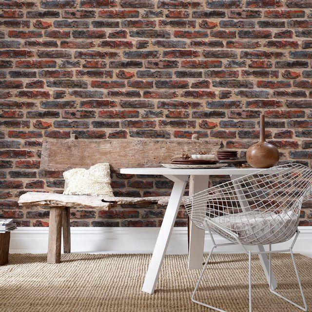 Papier Peint Vinyle Graine Intisse Effet Mur De Briques Aedan