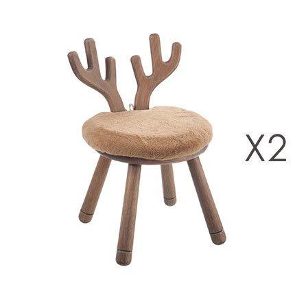 Lot de 2 chaises cerf en bois naturel