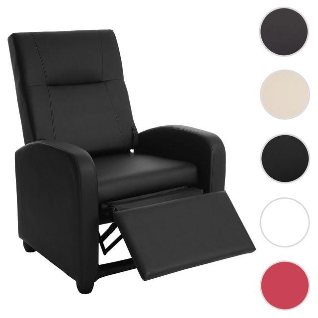 Mendler Fauteil de télé Denver Basic, fauteuil de relaxation, similicuir ~ noir