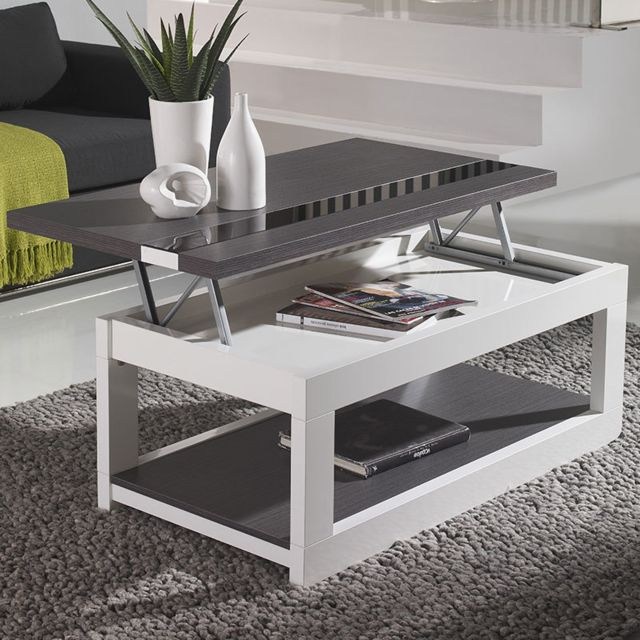 Nouvomeuble Table basse relevable moderne blanche et grise Montreal