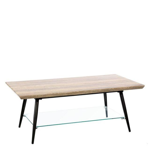 Ma Maison Mes Tendances Table basse rectangulaire 1 tablette en Mdf aspect bois, pieds en métal noir et verre Tudly - L 110 x l 60 x H 42