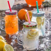Carafe en verre avec couvercle et Paille - Verre coktail jus de fruit original