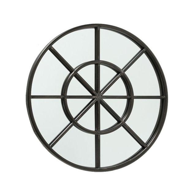 Wadiga Miroir Rond Oeil de Bœuf Métal Noir - Diamètre 60cm