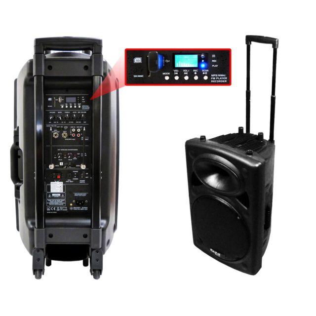 Ibiza Sound - Public Adress mobile Mp3 800W + 2 mic Port15VHF-BT