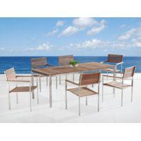 Beliani - Table de jardin acier inox - plateau teck 200 cm et 6 chaises - Viareggio