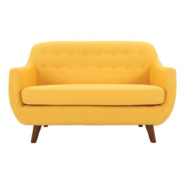 Miliboo Canapé 2 places design déhoussable jaune Ynok