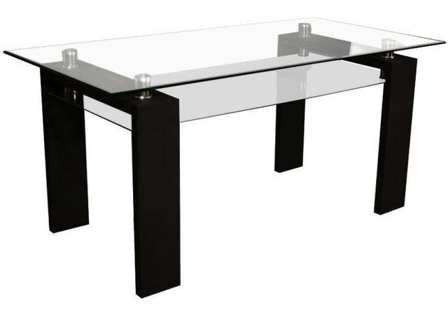 Declikdeco Cette Table de repas noire en verre Aurel est rehaussée d'un design résolument contemporain. Le plateau est rehaussé d'u