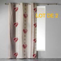 Couleur Montagne - Cdaffaires Lot de 2 rideaux a oeillets 140 x 240 cm coton imprime asmara Rouge
