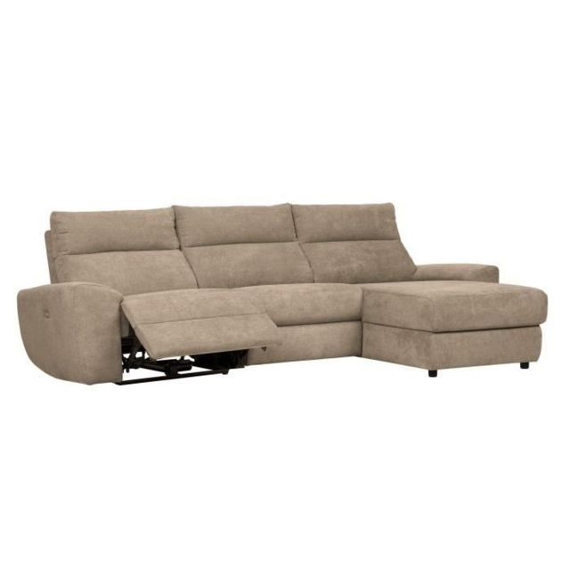 MARQUE GENERIQUE CANAPE - SOFA - DIVAN VILLE Canapé d'angle droit relax électrique - Tissu Beige - L 290 x P 160 x H 92 cm