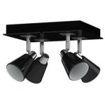 Antonio Miro - Plafonnier avec abat-jour en chrome et 4 ampoules Noir