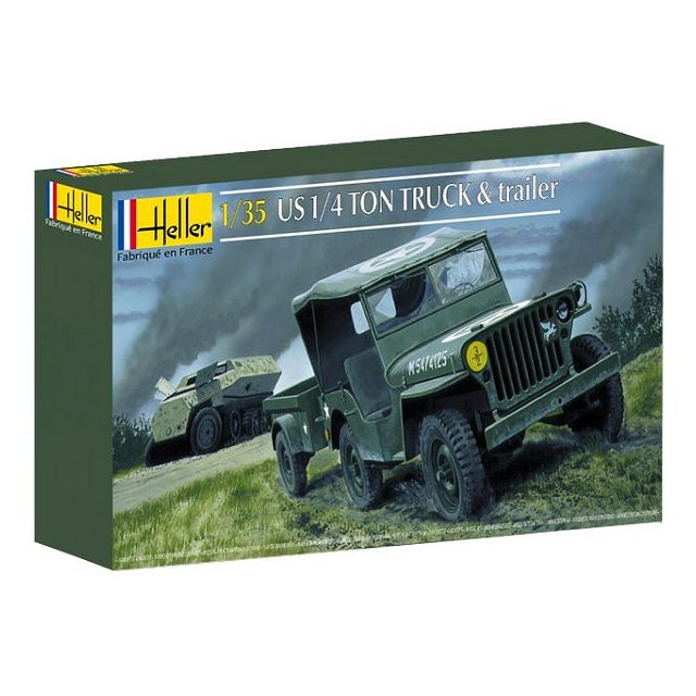 heller maquette jeep willys overland et remorque 1 35 pas cher achat vente voitures. Black Bedroom Furniture Sets. Home Design Ideas