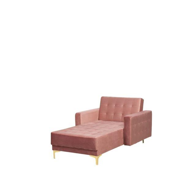 BELIANI Chaise longue en velours rose ABERDEEN - rose