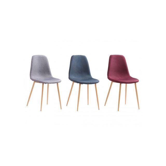 MARQUE GENERIQUE Lot de 4 chaises OLAF Tissu Bordeaux