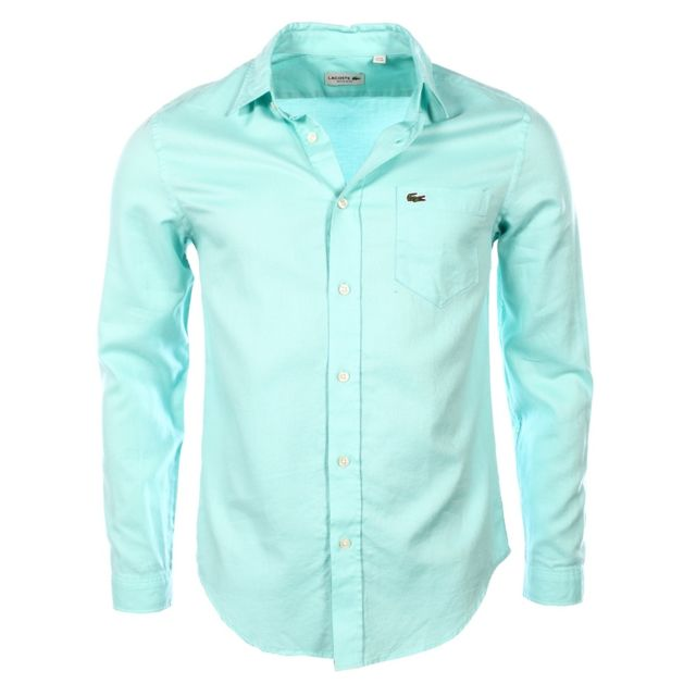 305077a100 Lacoste - homme - Chemise manches longues Ch3936 Turquoise - pas cher Achat  / Vente Chemise homme - RueDuCommerce