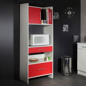 marque generique meuble desserte micro ondes l70xp40xh180cm simply blanc rouge pas cher. Black Bedroom Furniture Sets. Home Design Ideas