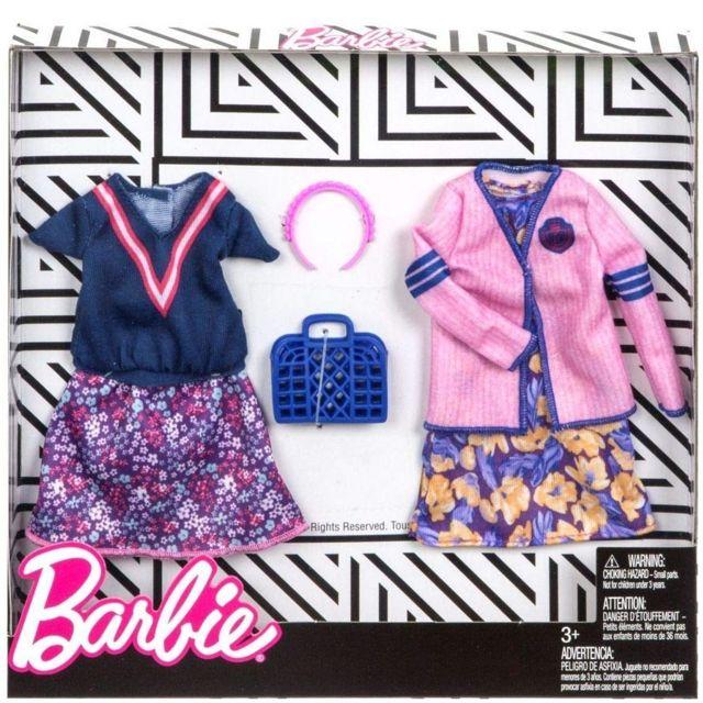 Barbie - Coffret 2 Habits   Jupe Et Haut Bleu + Robe Violet Et Veste Rose +  Accessoires - Tenue Ville - Vetement Poupee - pas cher Achat   Vente Poupées  - ... b0ad2c88e2fd