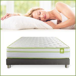 septnuits ensemble green zen 160 x 200 cm coloris sommier gris pas cher achat vente. Black Bedroom Furniture Sets. Home Design Ideas