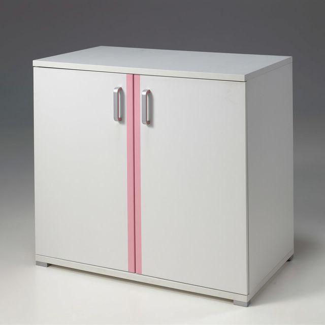Marque Generique Commode avec plan à langer en bois blanc/rose L100.5cm H90.4cm Valentine