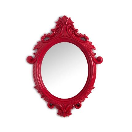 Miroir ovale rouge