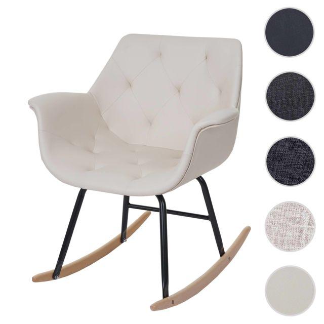 Mendler - Fauteuil à bascule Malmö T820, rocking-chair, fauteuil basculant, relax ~ similicuir, crème Beige