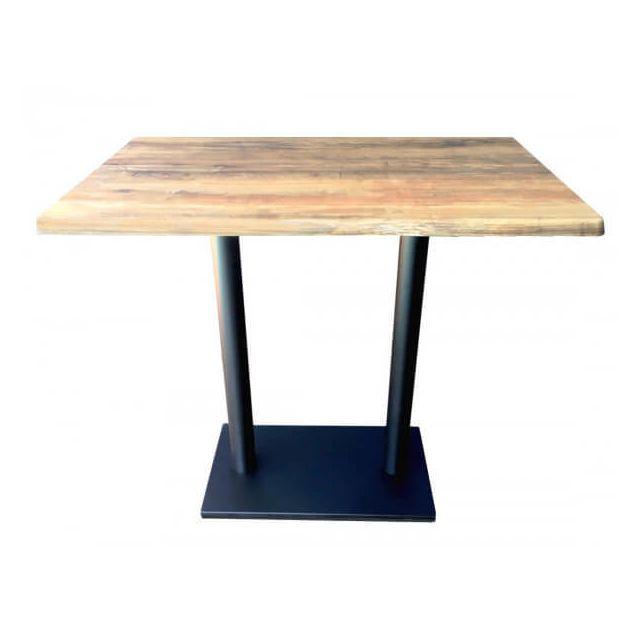 Mathi Design Oldwood - Table haute avec plateau effet bois vieilli