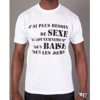 Divers Marques - Tshirt J'ai plus besoin de sexe blanc