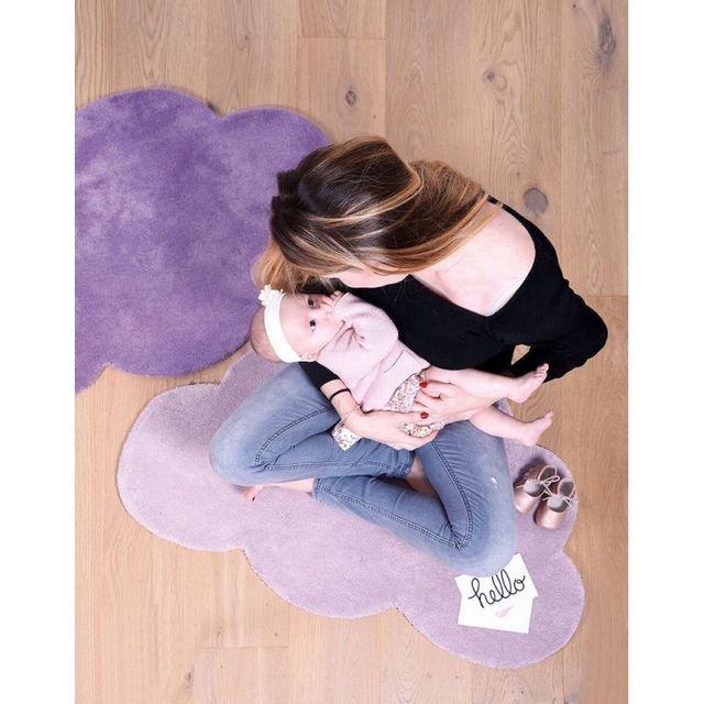 Lilipinso - Tapis Nuage Lilas foncé chambre bébé fille par ...