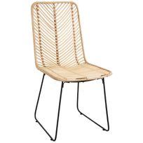 AUBRY GASPARD - Chaise en rotin noir et métal