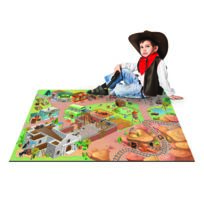 DeBonsol - Tapis de jeu enfant Far West cowboy