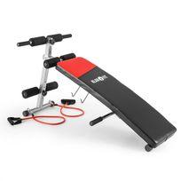 KLARFIT - Hiup Banc de musculation Entraînement Sit up Pliable Cuir synthétique - noir/rouge