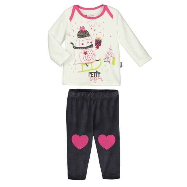 00ed76f7683c1 Petit Beguin - Pyjama bébé 2 pièces velours Lovesnow - Couleur - Ecru,  Longueur des