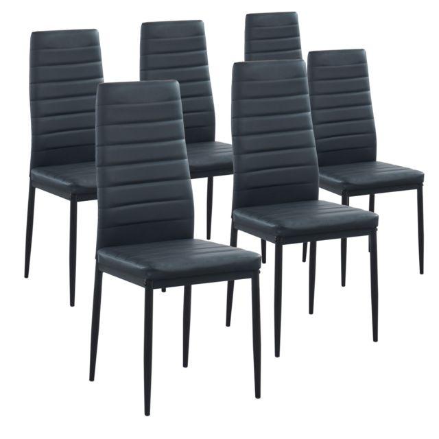 Lot de 6 chaises coloris noir en Pvc et métal laqué noir Dim : 53,5 x 40,5 x 96 cm