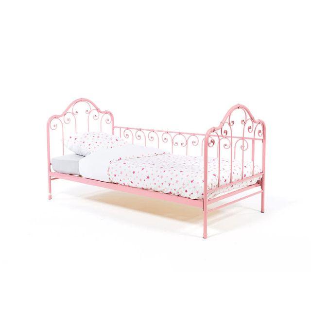 dlm lit banquette 1 personne en m tal rose 90x190 avec sommier heloise pas cher achat. Black Bedroom Furniture Sets. Home Design Ideas