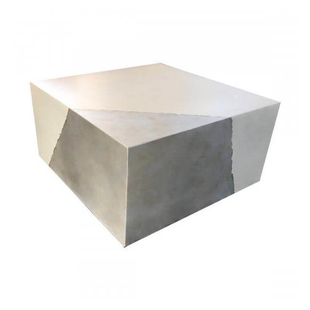 Mathi Design Cube Argent - Table basse béton blanc et Argent