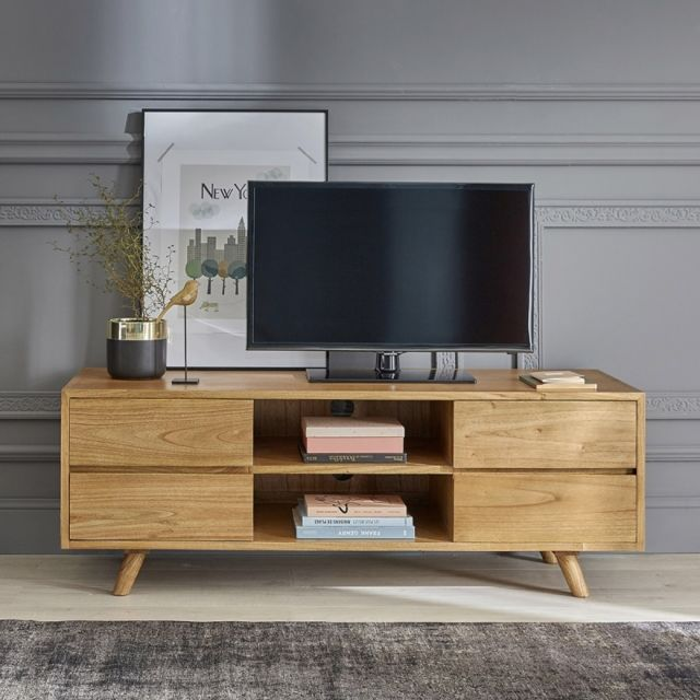 Bois Dessus Bois Dessous Meuble Tv en bois de mindy 4 tiroirs