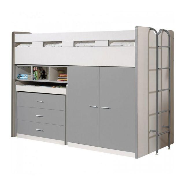 Vipack Lit mezzanine Bonny 90 x 200 cm Silver