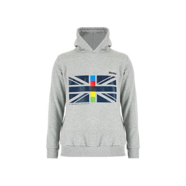 Santini Sweatshirt Uci Road World Championships Yorkshire Hoodie 2019 gris bleu