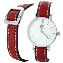 Bellas - Montre Femme Cuir Rouge Double-Bracelet 2776