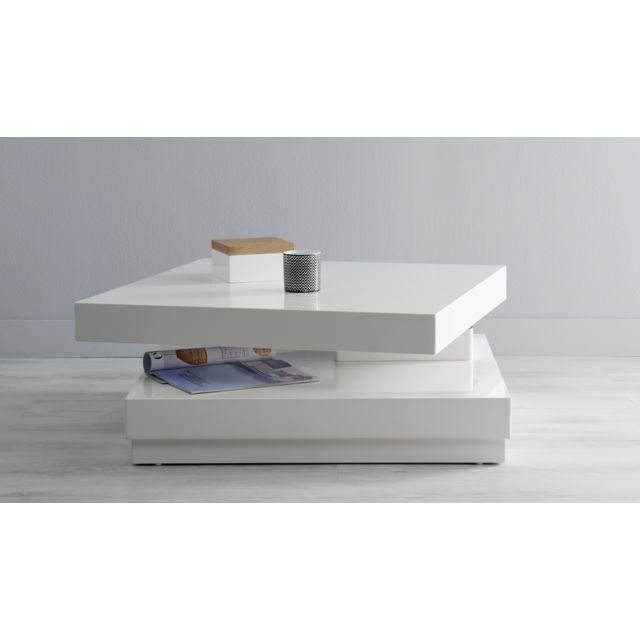 RUE DU COMMERCE DUOMO - Table basse 2 plateaux - Blanc laqué