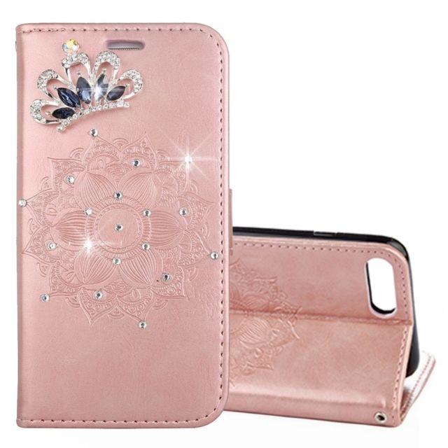 coque iphone 8 or rose cuir