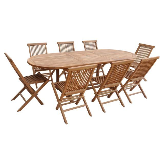 Salon de jardin LOMBOK - table extensible ovale en teck - 8 places