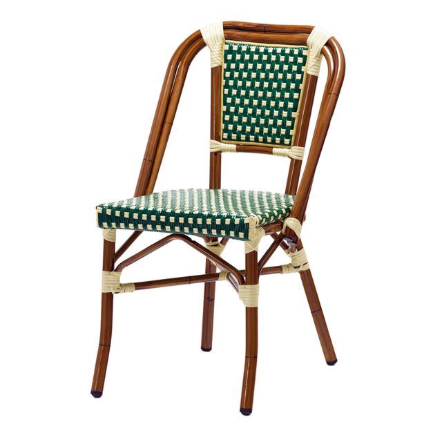 rotindesign soldes chaise bistrot dave alu et polyrotin vert with chaises bistrot alu occasion. Black Bedroom Furniture Sets. Home Design Ideas