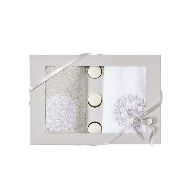 tex home coffret serviettes fantaisies et bougies pas cher achat vente serviettes de bain. Black Bedroom Furniture Sets. Home Design Ideas